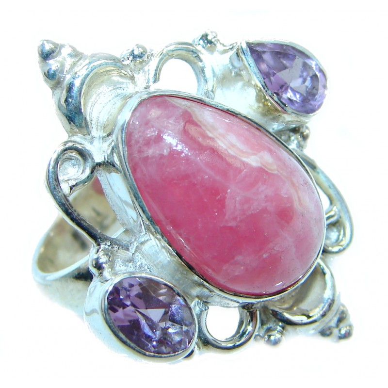 Exotic Rhodochrosite Amethyst Sterling Silver handcrafted Ring s. 9