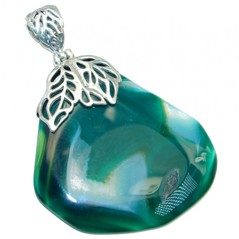 Natural color Botswana Agate Sterling Silver handmade Pendant