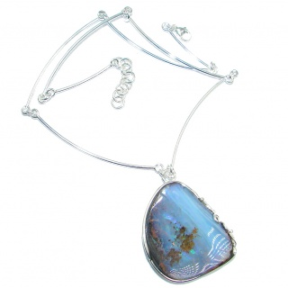 Fine Art Australian Boulder Opal oxidized Sterling Silver handcrafted necklace