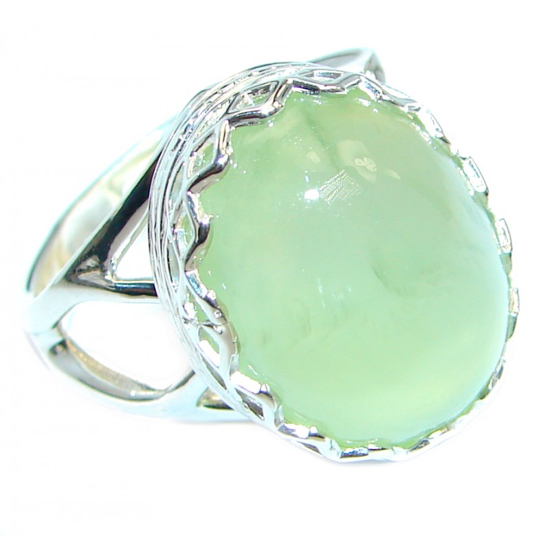 Natural Prehnite 925 Sterling Silver handcrafted Ring Size 7 adjustable