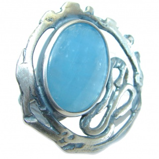 Blue Galaxy Natural 15 ct. Aquamarine Gold Plated over Sterling Silver Ring s. 8 adjustable