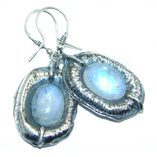 One of the kind Sublime Design White Moonstone Oxidized Sterling Silver earrings