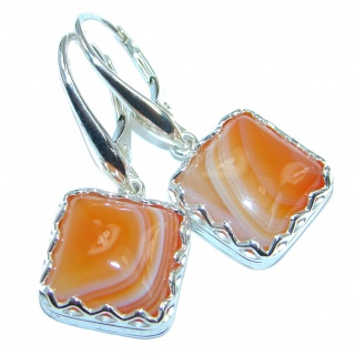 Sublime Orange Botswana Agate Sterling Silver handmade earrings