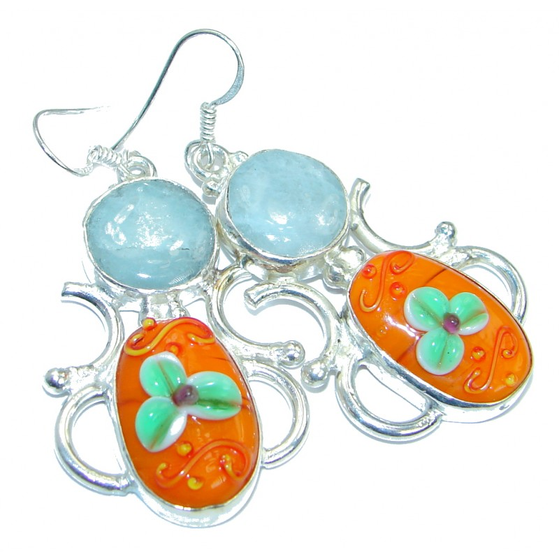Great Artsian Glass Silver Tone earrings