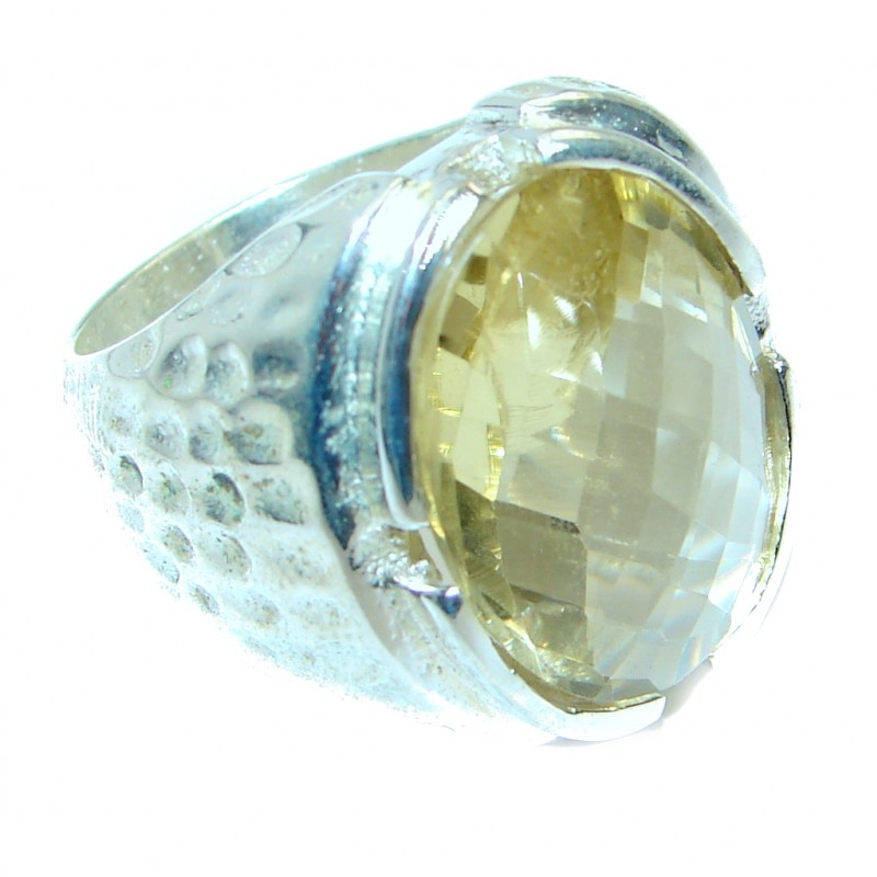 Seven Islands Citrine Silver Tone Cocktail Ring size 8