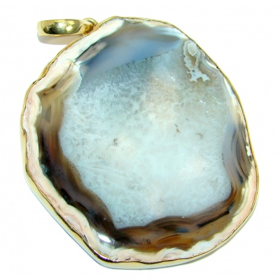 Huge 46.8 grams! Botswana Agate Gold plated over Sterling Silver handcrafted Pendant