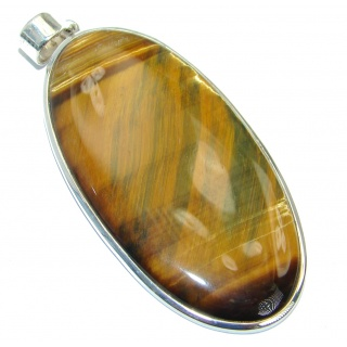 Incredible quality Silky Golden Tigers Eye Sterling Silver handmade Pendant