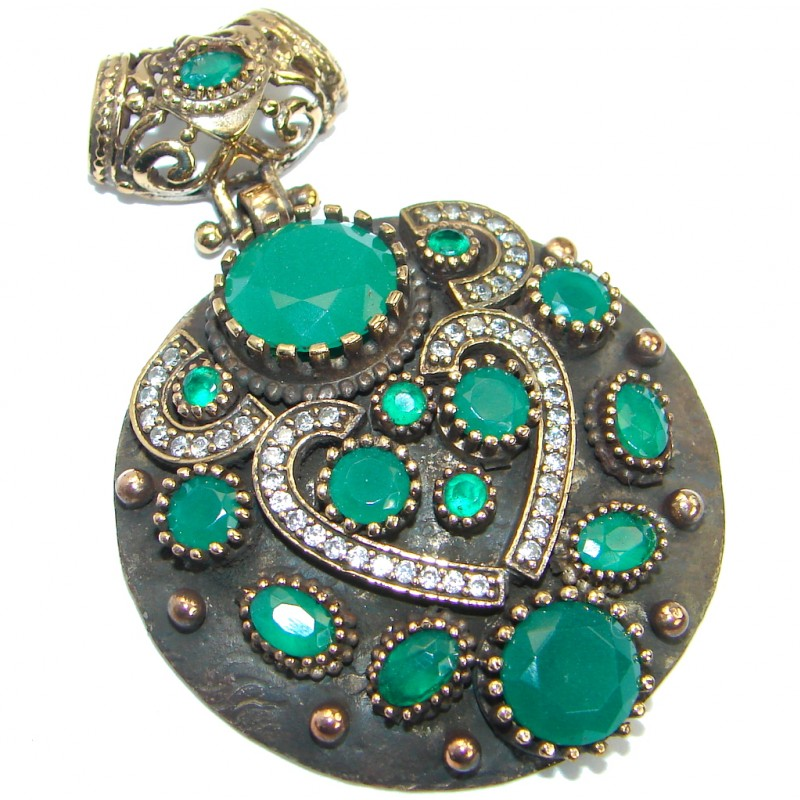 Vintage Style created Emerald Sterling Silver handmade Pendant