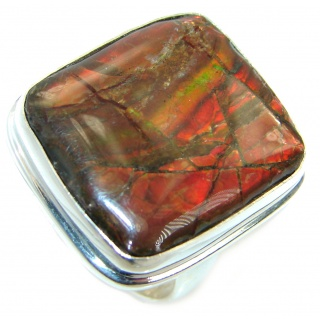 Twilight Zone Fire Genuine Canadian Ammolite .925 Sterling Silver handmade ring size 8 adjustable