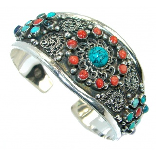 Jumbo Boho Chic Genuine Turquoise Coral Sterling Silver handmade Bracelet / Cuff