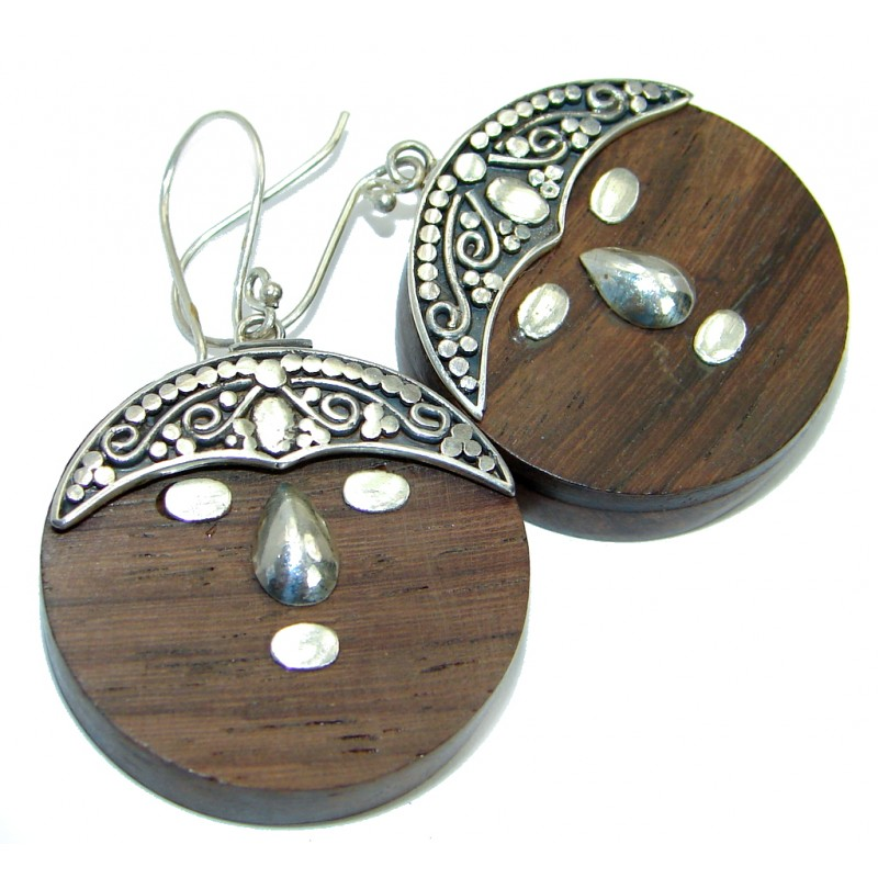 Excellent Quality Of Bamboo Wood Silver Sterling Silver earrings