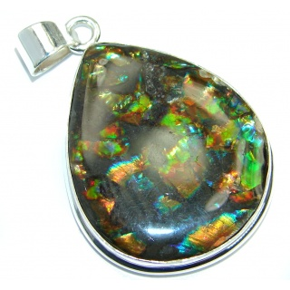 One of the kind Jumbo Authentic Beauty Canadian Ammolite Sterling Silver handmade Pendant
