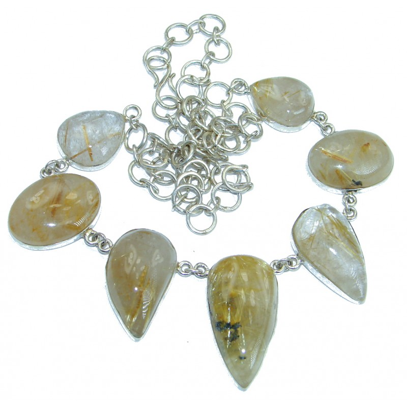 One of the kind Nature inspired Sublime Golden Rutilated Quartz Sterling Silver handmade necklace