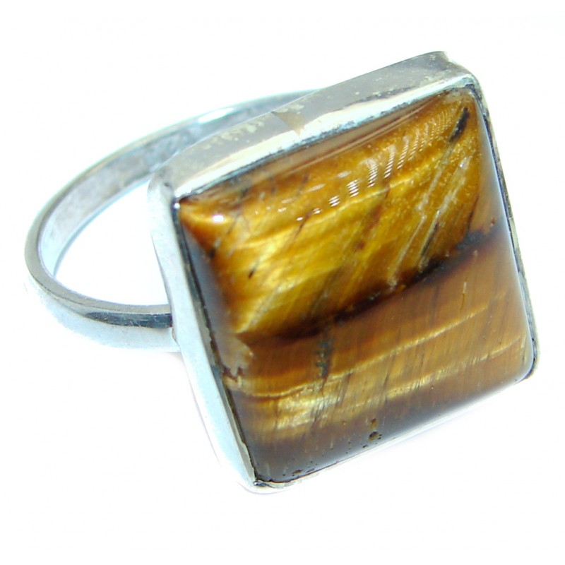 Golden Tigers Eye Sterling Silver ring s. 10 1/2