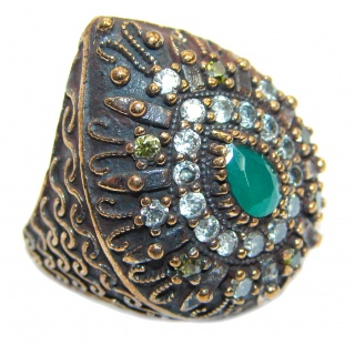 Victorian Style created Emerald & White Topaz Copper over Sterling Silver ring; s. 7 1/4