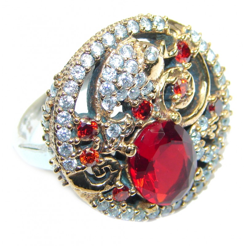 Large Victorian Style created Ruby & White Topaz Sterling Silver ring; s. 7 1/2