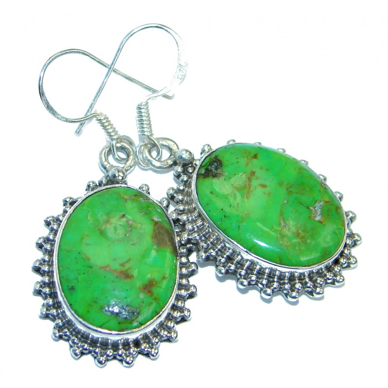 Perfect Green Turquoise Sterling Silver handmade earrings