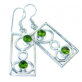 Genuine Peridot .925 Sterling Silver handamde earrings