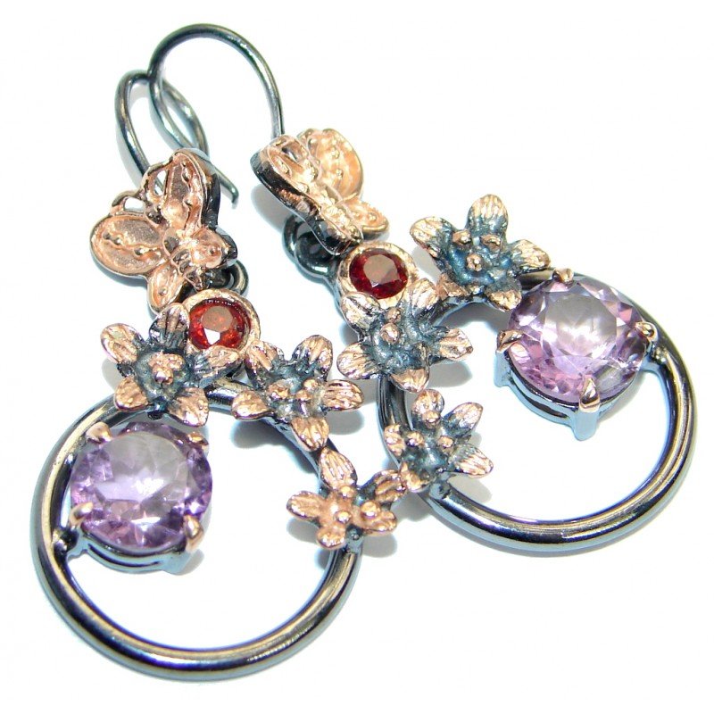Delicate Beauty Amethyst Garnet Rose Gold over .925 Sterling Silver Earrings