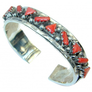 Jumbo Boho Chic Genuine Fossilized Coral Sterling Silver handmade Bracelet / Cuff