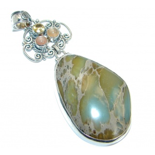 Julietta natural Sea Sediment Jasper Sterling Silver handmade Pendant