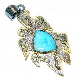 Sublime Design Authentic Beauty Larimar Gold plated over .925 Sterling Silver handmade Pendant