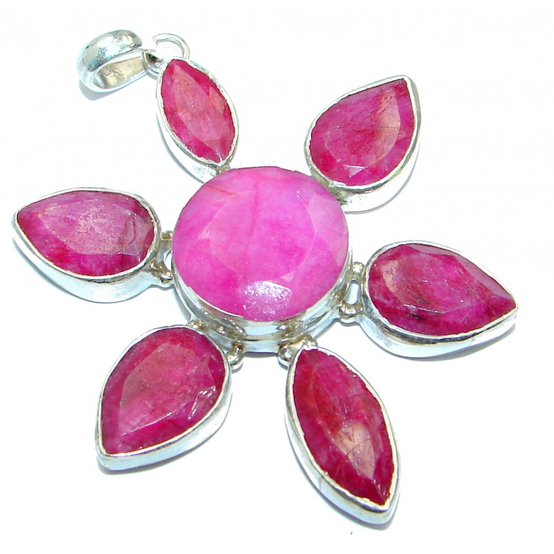 Victorian Vintage Style Ruby Sterling Silver Pendant