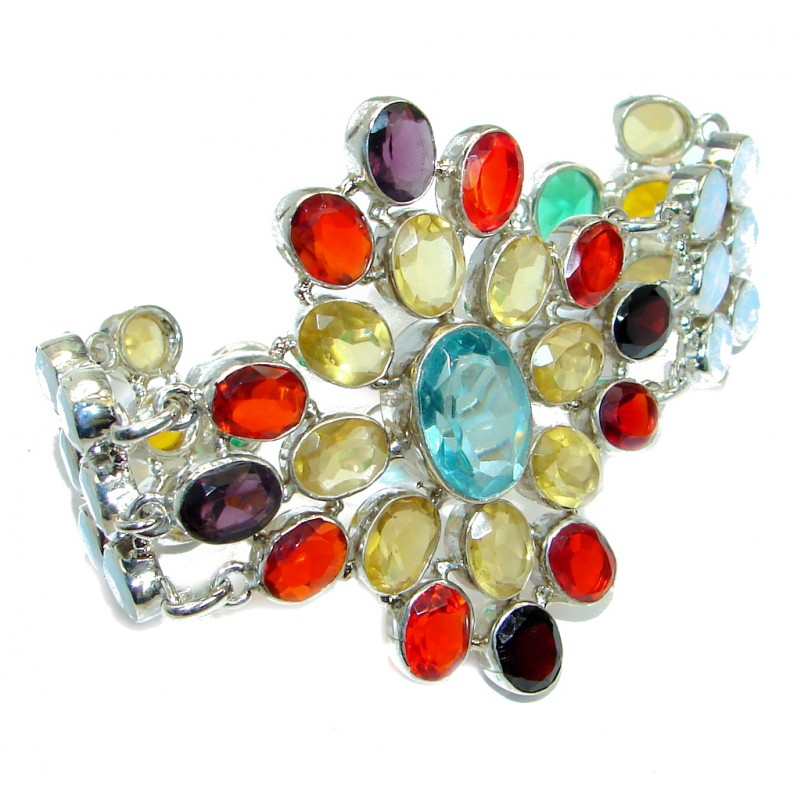 Aura Of Beauty Multigem Sterling Silver handmade Bracelet