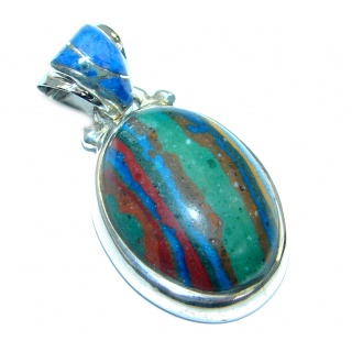 Amazing Blue Rainbow Calsilica Sterling Silver handmade Pendant