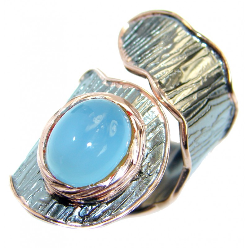 Genuine Chalcedony Agate Rose Gold Rhodium plated over Sterling Silver ring s. 7 adjustable