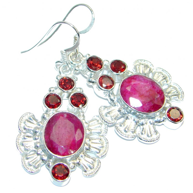 Trendy Ruby Sterling Silver handmade earrings