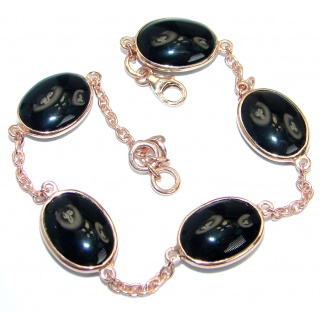Flawless Faceted Onyx Gold Rhodium plated over Sterling Silver Bracelet