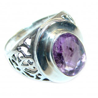 Amazing genuine 28ct Amethyst .925 Sterling Silver Ring size 9
