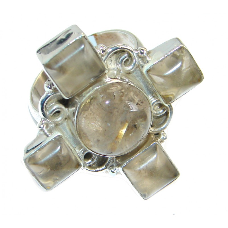 Bold Champagne Rutilated Quartz Sterling Silver Ring size 9