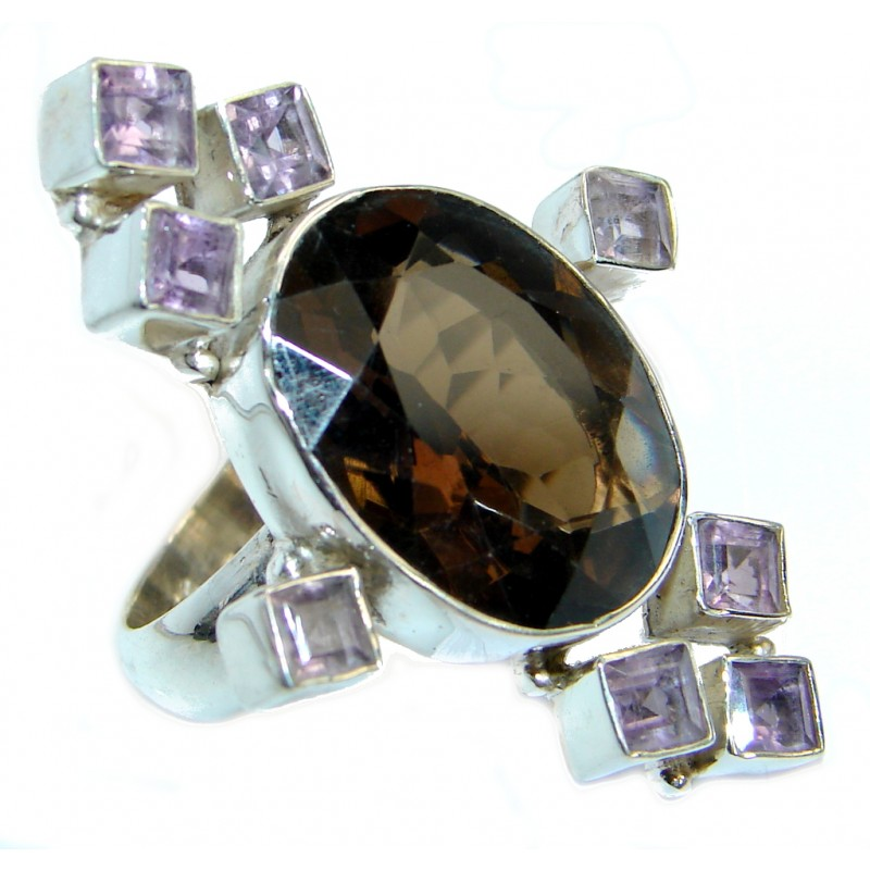Bold Champagne Smoky Topaz Sterling Silver Ring size 9