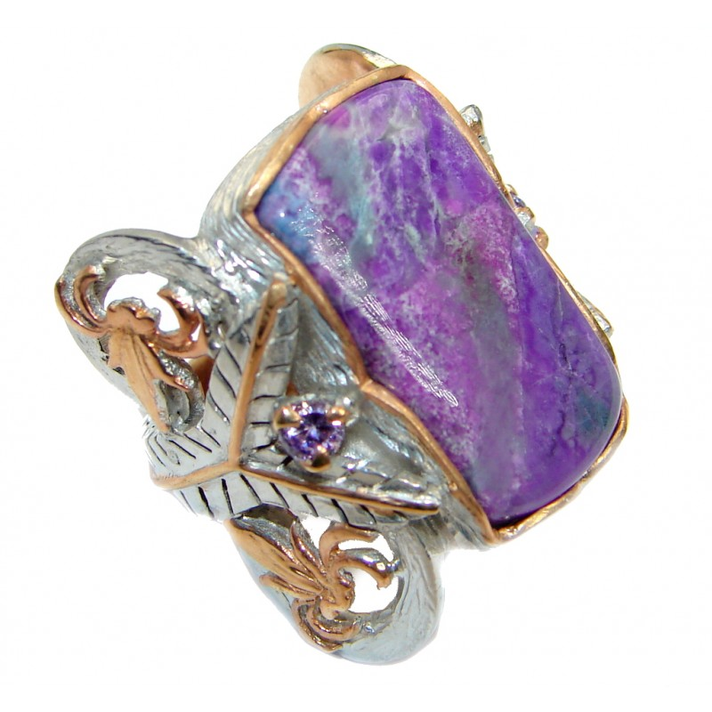 Genuine Siberian Charoite Rose plated over .925 Sterling Silver handmade ring size 6