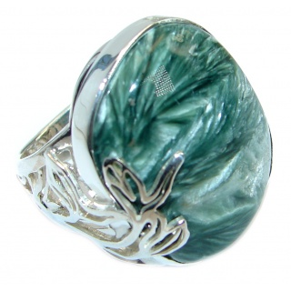 Huge quality Green Russian Seraphinite Sterling Silver Ring size 7 adjustable