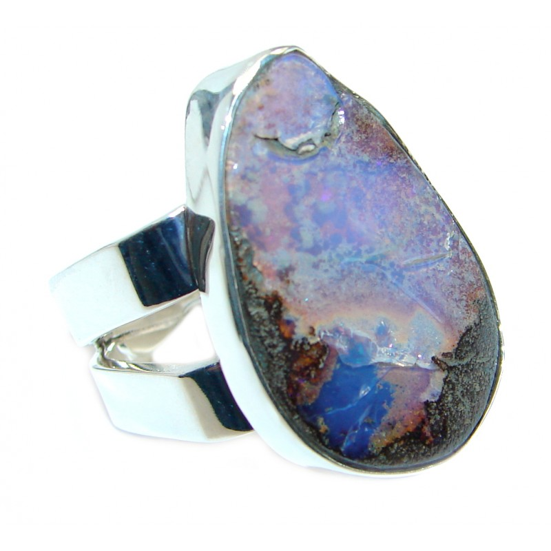 Jumbo Classic Boulder Opal oxidized .925 Sterling Silver handcrafted ring size 7