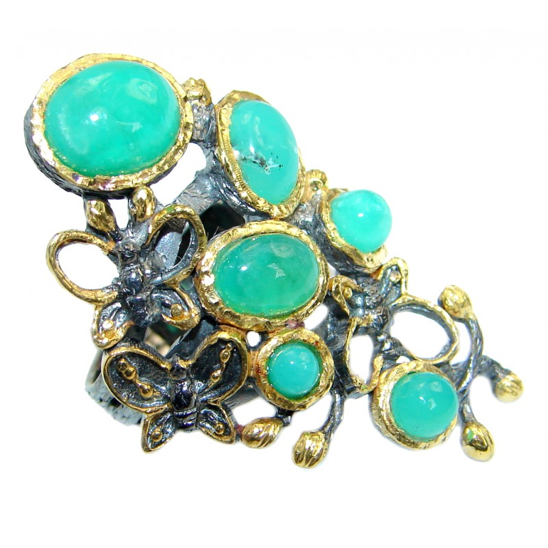 Statement Ring Chrysoprase Gold Rhodium Plated over .925 Sterling Silver Ring s. 8
