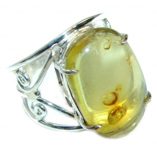 Huge Genuine Green Polish Amber Sterling Silver Ring s. 10