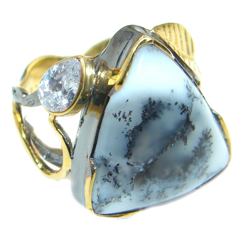 Snow Queen Dendritic Agate Gold Rhodium Plated over .925 Sterling Silver Ring s. 6