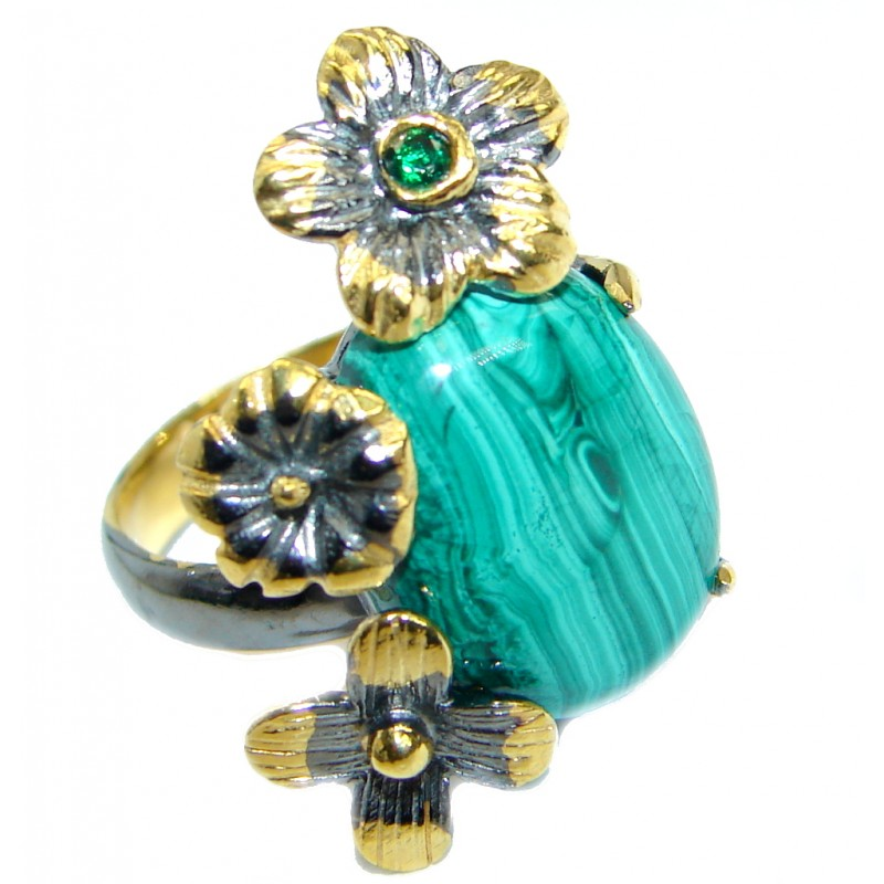 Green Genuine Malachite Gold Rhodium Plated over .925 Sterling Silver Ring s. 6 adjustable