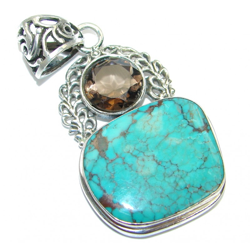 Genuine great quality Blue Turquoise Sterling Silver handmade Pendant