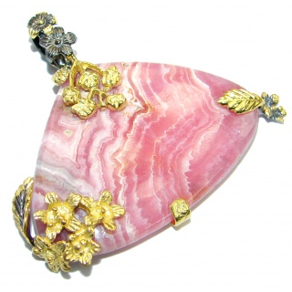 Simply Perfect Rhodochrosite Gold plated over .925 Sterling Silver handcrafted Pendant