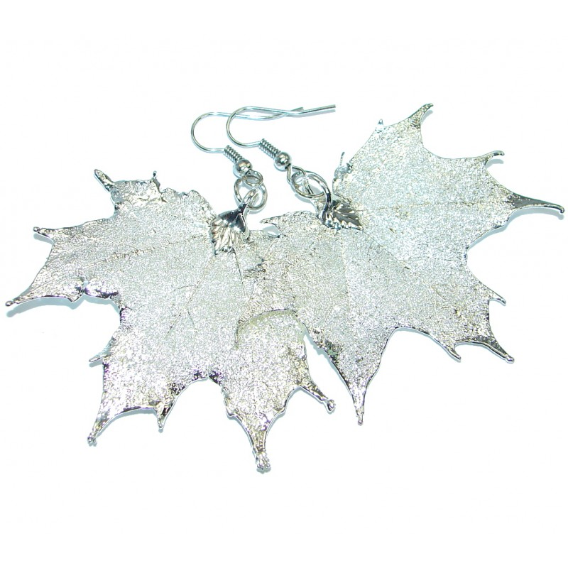 Large Real Leaves Deeped in .925 Sterling Silver earrings