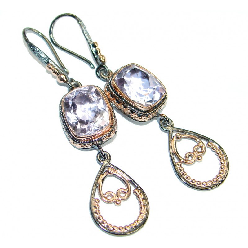 Genuine Pink Amethyst Rose Gold over Oxidized .925 Sterling Silver handmade Earrings