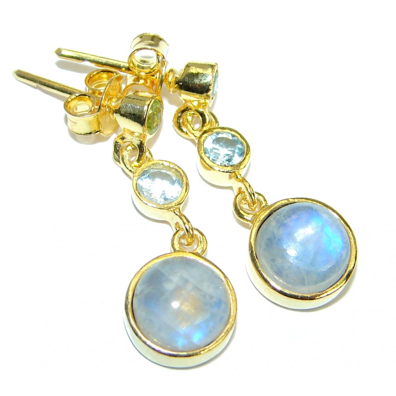 Genuine Fire Moonstone Gold plated over .925 Sterling Silver handcrafted Earrings