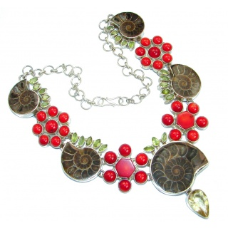 One of the Kind Ammonite Fossil Coral Citrine Sterling Silver handcrafted necklace