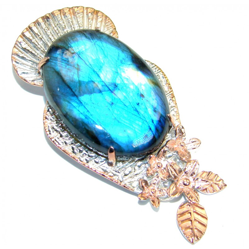 Bold Highest quality genuine Blue Labradorite .925 Sterling Silver handmade Pendant