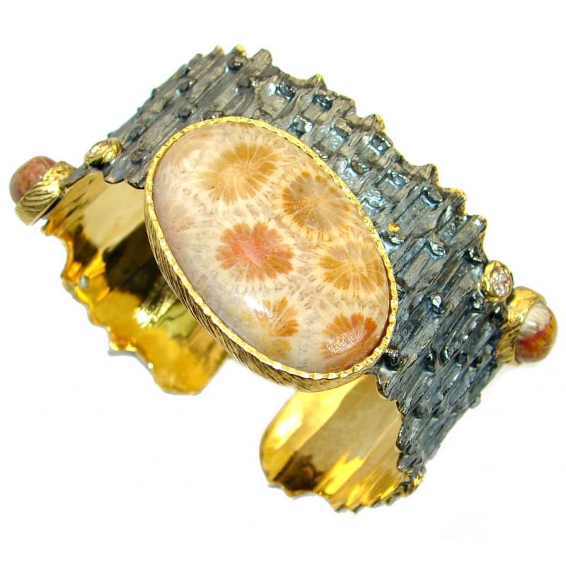 Huge One in the World Natural Fossilized Coral .925 Sterling Silver Bracelet / Cuff